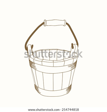 hand drawn wooden bucket  - stock vector
