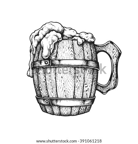 Hand drawn wooden mug full of Irish beer. Saint Patricks Day. Vector illustration