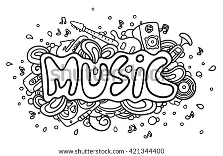 "Hand drawn word ""Music"" - stock vector"