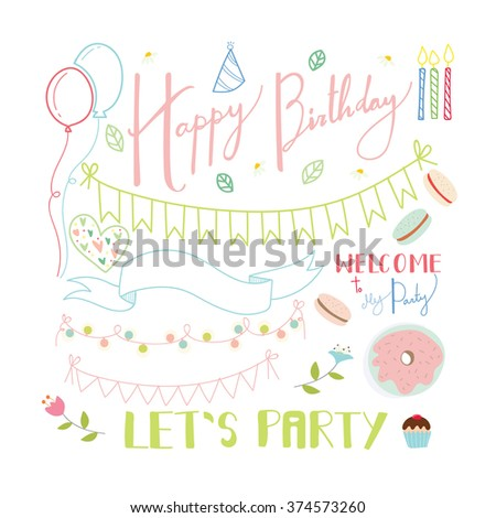 hand drawn words birthday party decorative stock vector royalty