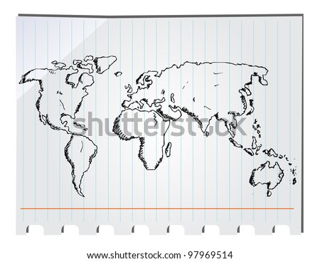 hand drawn world map - stock vector