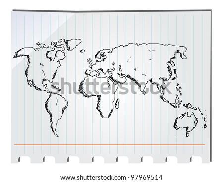 Drawing A World Map. hand drawn world map World Map Drawing Stock Images  Royalty Free Vectors