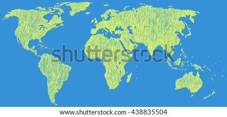 Hand drawn world map. Earth map. Vector illustration.