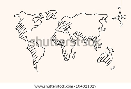 Hand drawn world map - Vector