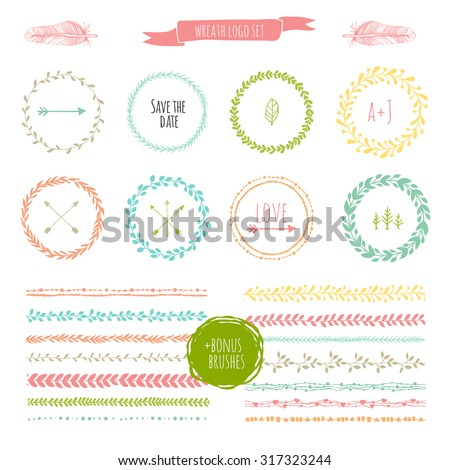 Hand-Drawn wreath logo set and vector brush collection, and template for frame, logo design, wedding invitations (save date), invitation, scrapbooking  - stock vector