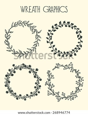 Hand drawn wreath set made in vector. Leaves, flowers and berries garlands. Romantic floral design elements. - stock vector