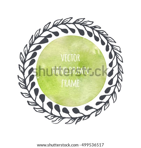 Hand drawn wreath set made in vector. Leaves garlands. Romantic floral design elements with watercolor green background.