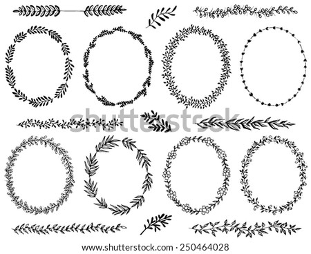 Hand drawn wreaths and design elements - stock vector