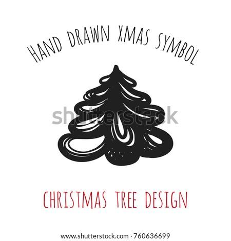 Hand Drawn Xmas Symbol Christmas Tree Stock Vector 760636699
