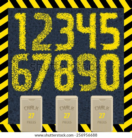 Hand drawn yellow chalk font on asphalt. Part 2/2 Numbers - stock vector