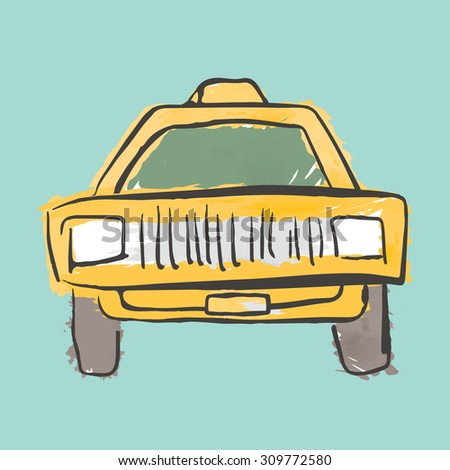 Hand Drawn Yellow Taxi
