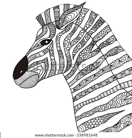 Hand drawn zebra zentangle style for coloring book,tattoo,t shirt design,logo - stock vector