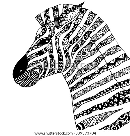 Hand Drawn Zebra Zentangle Style For Coloring Booktattoot Shirt Designlogo
