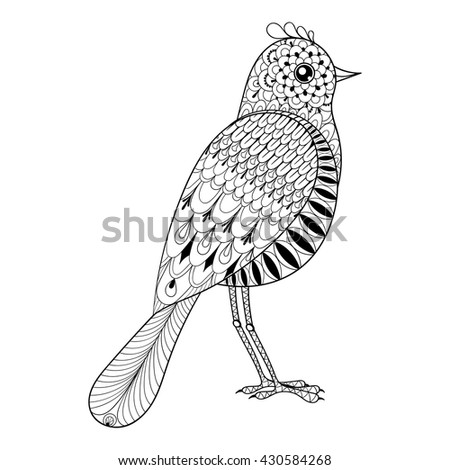 Hand drawn zentangle artistic Bird for adult antistress coloring pages, art therapy post card, patterned t-shirt print, Boho tribal style.  - stock vector