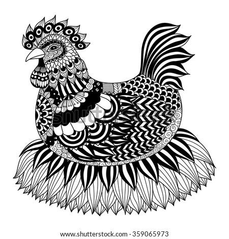 Hand Drawn Zentangle Chicken Coloring Book Stock Vector 359065973 ...
