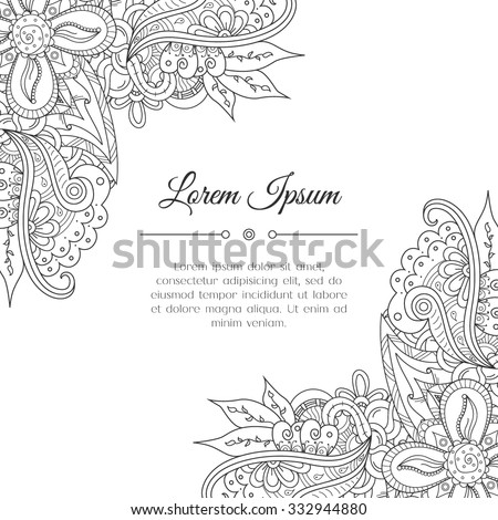Hand drawn zentangle corner?. Abstract doodle border for background decoration. Ornamental black and white design. Good for card, invitation, presentation template, notebook cover. Vector illustration - stock vector
