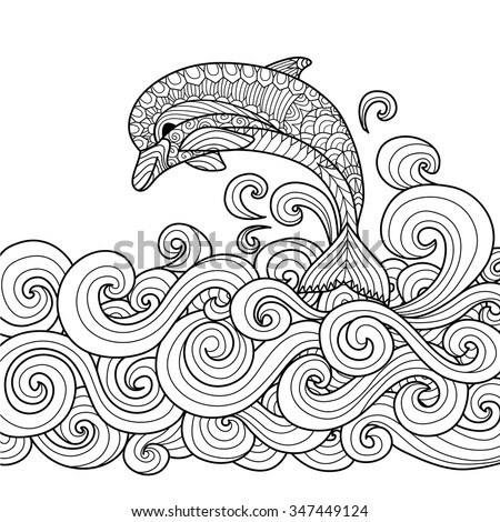 Hand drawn zentangle dolphin with scrolling sea wave for coloring book for adult - stock vector