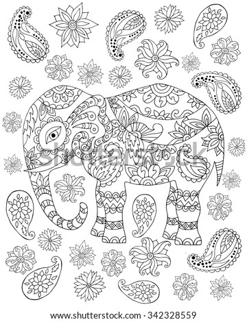 Hand Drawn Zentangle Elephant Adult Anti Stock Vector HD (Royalty ...