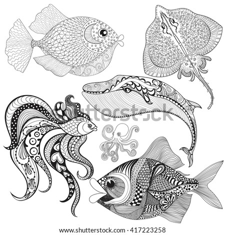 Hand drawn zentangle Fishes, Whale, Octopus, Stingray for adult colouring pages,mehendi t-shirt print, logo icon. Isolated sea animals set, illustration in doodle, boho style, henna tattoo design. - stock vector