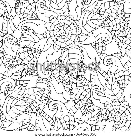 Hand drawn zentangle flower ornament for adult anti stress. Black and white background. Coloring book page. Pattern for coloring book. Floral seamless pattern. - stock vector