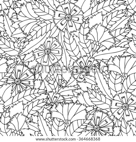 Hand drawn zentangle flower ornament for adult anti stress. Black and white background. Coloring book page. Pattern for coloring book. Floral seamless pattern. Cornflowers. - stock vector