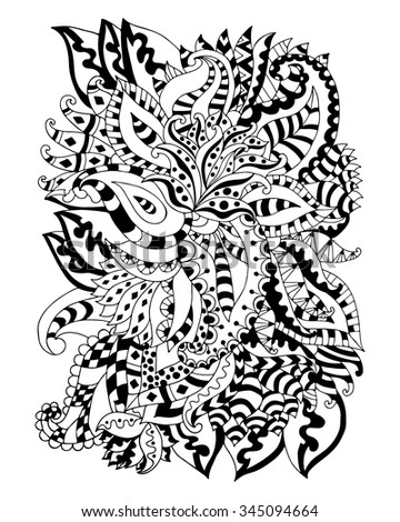 Number Names Worksheets pictures of flowers to trace : Hand Drawn Zentangle Flowers Leaves Adult Stock Vector 345094715 ...