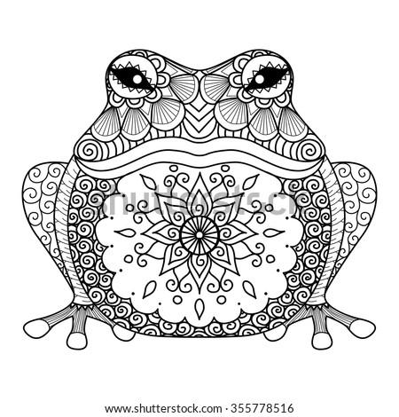 Hand Drawn Zentangle Frog Coloring Book Stock Vector 355778516 ...