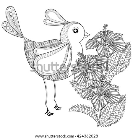 Hand Drawn Zentangle Tribal Exotic Bird And Hibiscus Flower For Adult Anti Stress Coloring Pages
