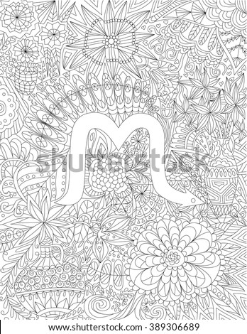 Geometric Art Coloring Book : Handdrawn zodiac sign scorpio ethnic floral stock vector 389306689