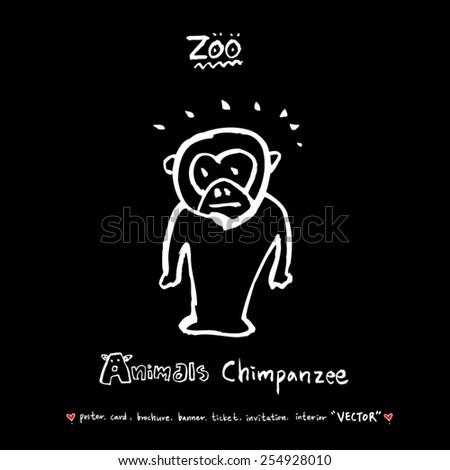 Hand drawn ZOO illustration - animal sketch - vector - stock vector