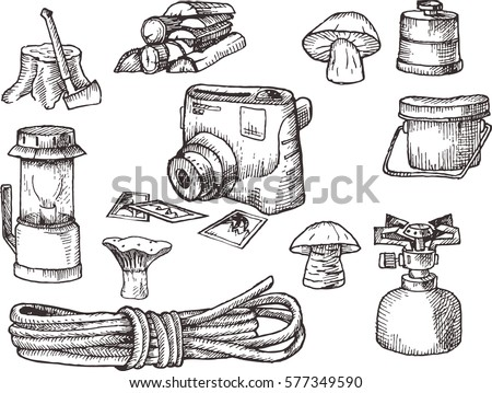 Hand Drown Kit Set Of Hiking Camping Equipment Black And White Scanned