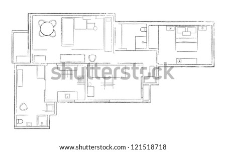 Hand drown sketch of the floor with furniture. Vector - stock vector