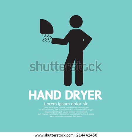Hand Dryer Machine In Public Toilet Vector Illustration - stock vector