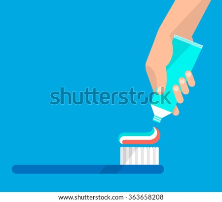 Hand extrude a toothpaste from a tube on a toothbrush. Hygiene and teeth care concept. Isolated vector illustration flat design. - stock vector