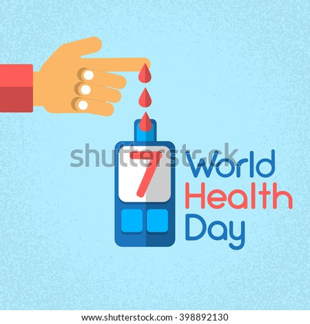 Hand Finger Blood Drop From Glucose Meter Level Diabetes World Health Day 7 April Holiday Banner Flat Vector Illustration - stock vector