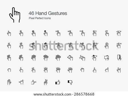 Hand Finger Gestures Pixel Perfect Icons (line style) - stock vector