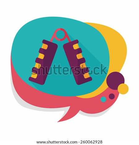 hand fitness equipment flat icon with long shadow,eps10 - stock vector