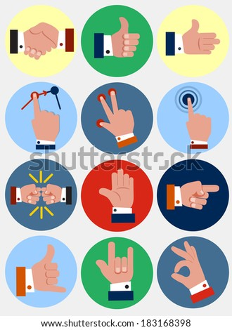 hand flat icons - stock vector