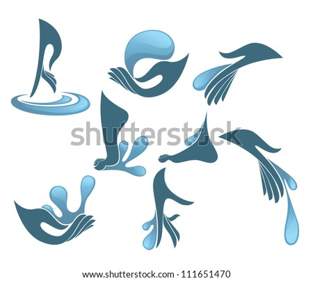hand, foot and clean water, vector collection of cosmetic symbols and signs - stock vector
