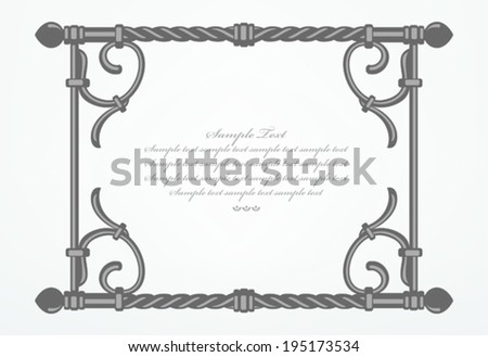 Hand forged metal frame. Vector background.