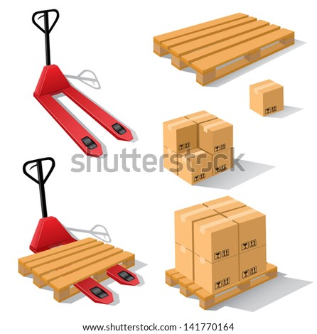 Hand forklift with pallets and boxes - stock vector