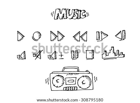 Hand free drawn type recorder and buttons. Vector illustration white isolated - stock vector