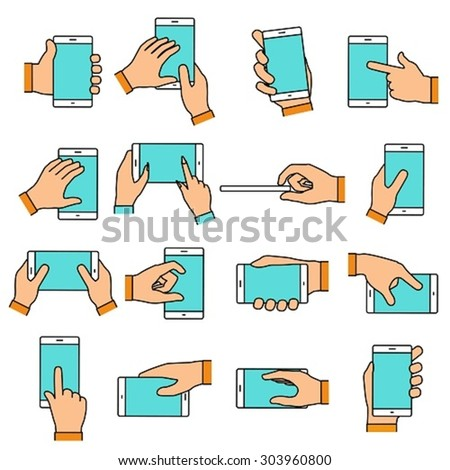 Hand gesture on the touch screen. Hands holding smartphone or other digital devices. Line icons set with flat design elements. - stock vector