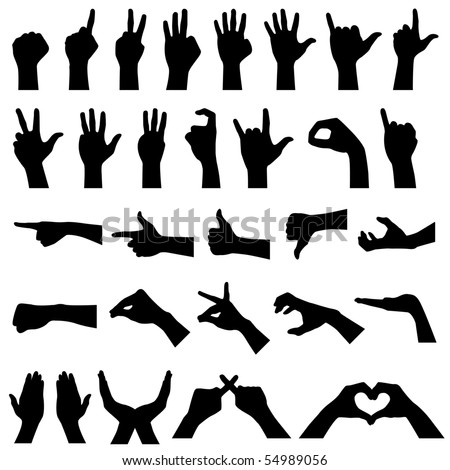 Hand Gesture Silhouettes in Vector - stock vector