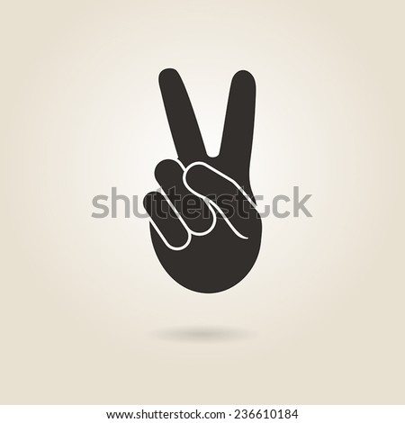 hand gesture victory symbol on a light background - stock vector