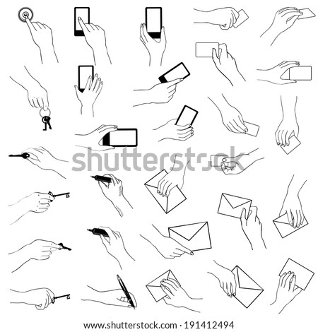 Hand gestures collection. Hands holding key, phone, card, letter, pen. Sketch collection. - stock vector