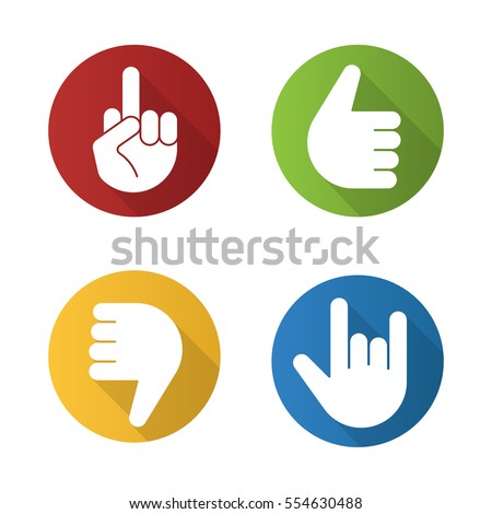 Hand gestures flat design long shadow icons set. Thumbs up, dislike, heavy metal, middle finger up. Vector silhouette illustration