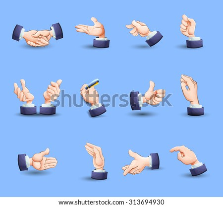 Hand gestures flat icons set expressing approval with thumb up and pointing finger abstract vector isolated illustration - stock vector