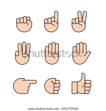hand gestures. Flat style vector icons, emblem, symbol For Your Design