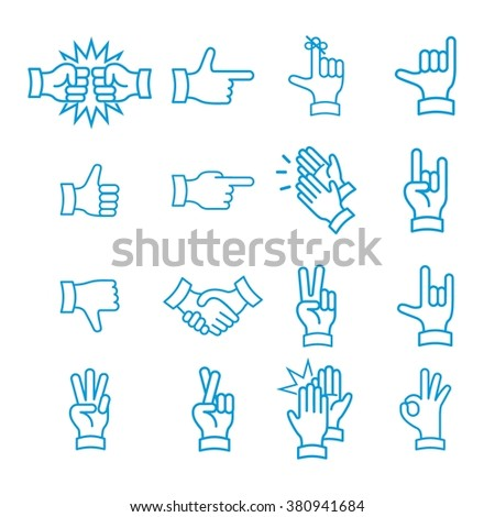Hand Gestures from Clapping Hand to Thumb Up. Line icons set. Flat style color vector symbols isolated on blue.